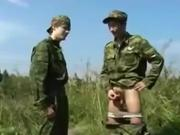 Smoking Russian Soldier Fucks Another