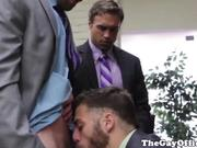 Gay office hunk giving head