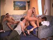 Large gay group orgy with one woman involved