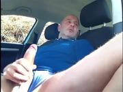 Jerking Big Uncut Cock In Car