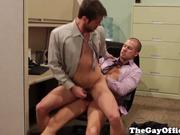 Uniform gay hunk fucks his tight ass